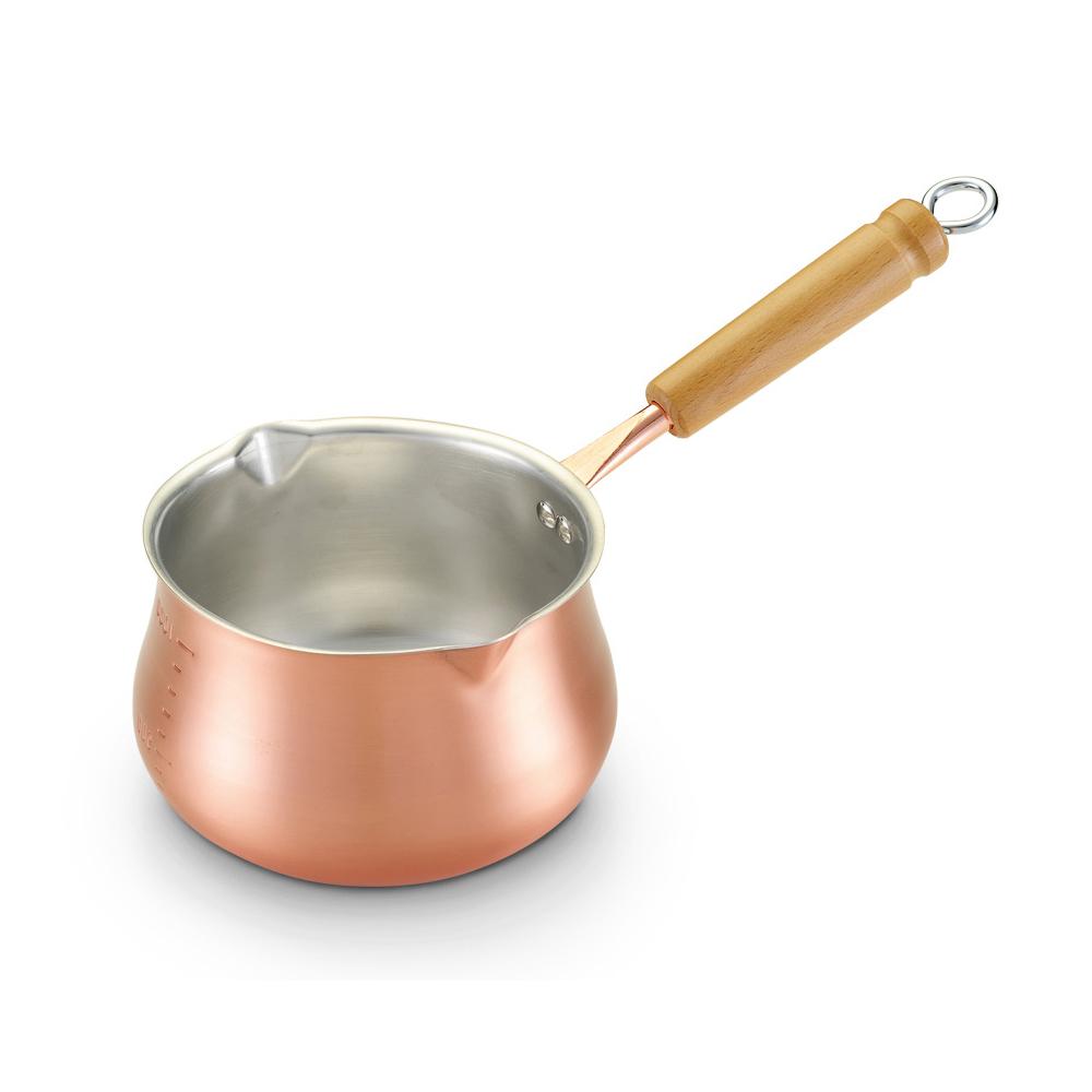 田邊金具|1.2L純銅木柄牛奶鍋-14cm