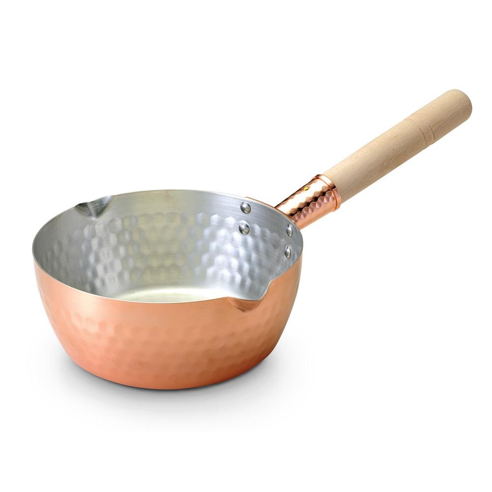 田邊金具 1.6L純銅木柄雪平湯鍋-18cm