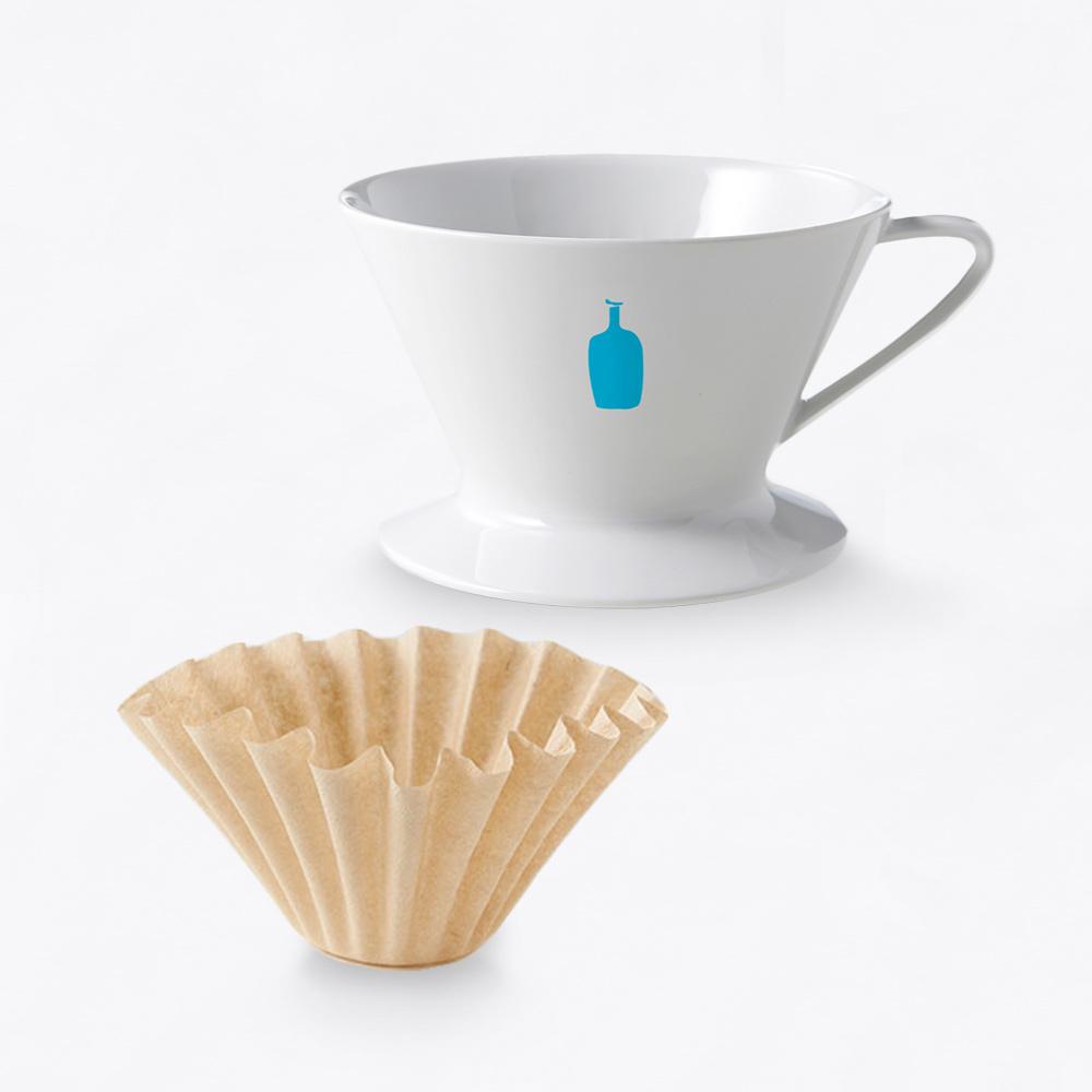 Blue Bottle 有田燒陶瓷單孔咖啡濾杯+專用竹製濾紙30入