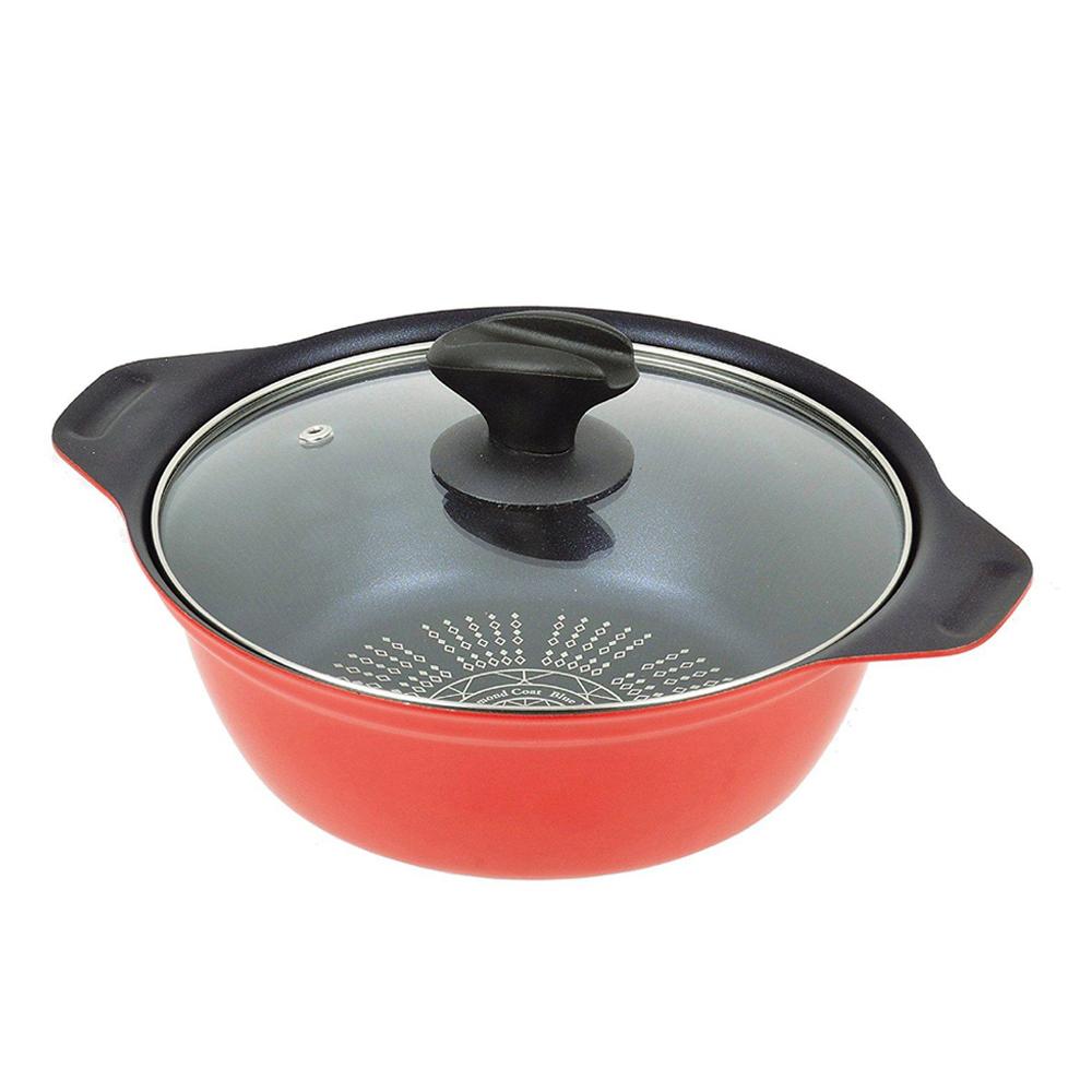珍珠金屬 藍鑽塗層不沾火鍋(附鍋蓋)-紅色26cm