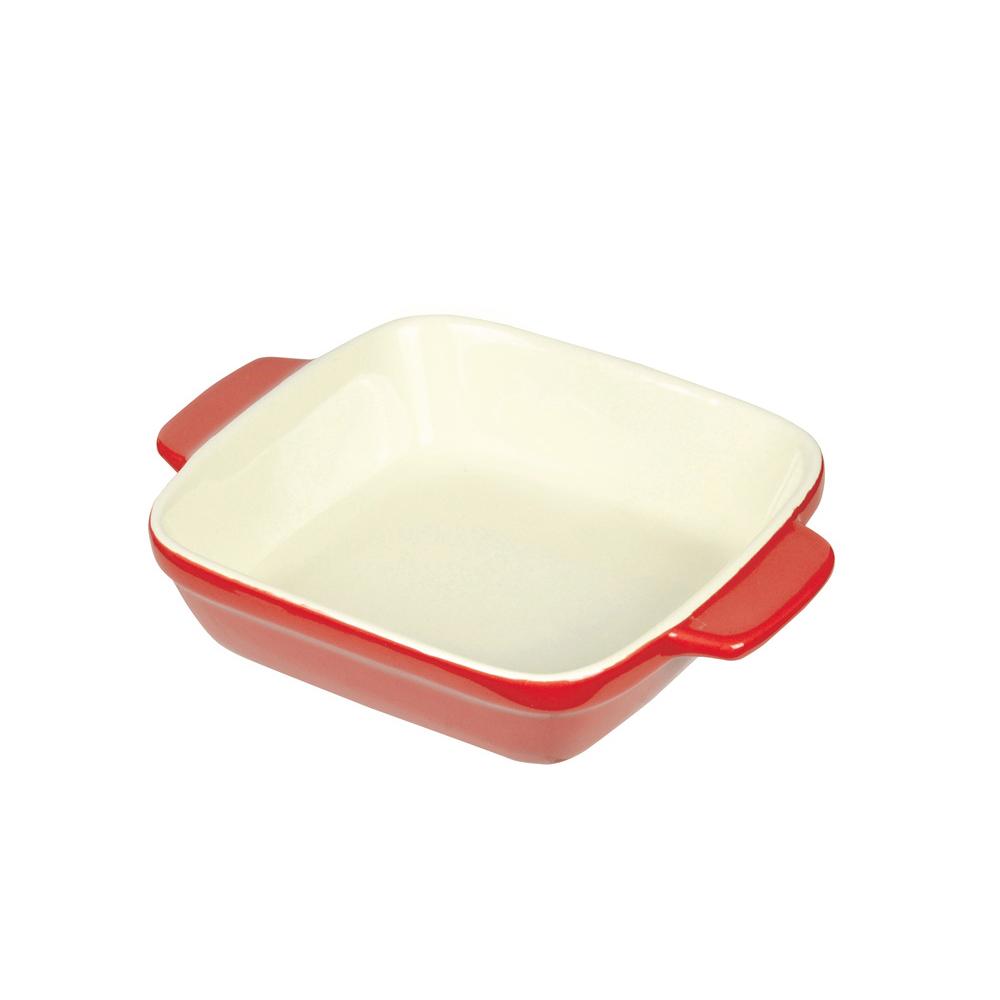 日本珍珠金屬|方形耐熱深形焗烤盤-熱情紅14x14cm