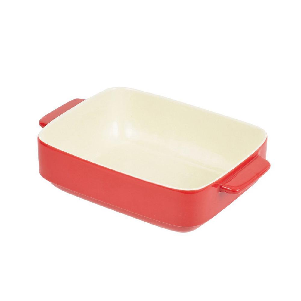 珍珠金屬 長形耐熱深形焗烤盤-熱情紅24x19cm