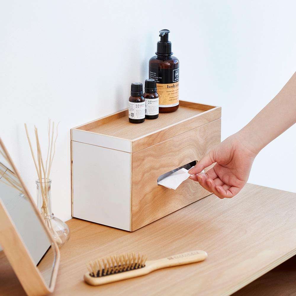 IDEACO|原木紙巾面紙兩用盒