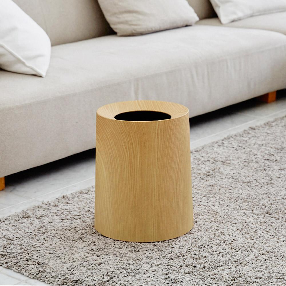 日本IDEACO|橡木紋家用垃圾桶-11.4L