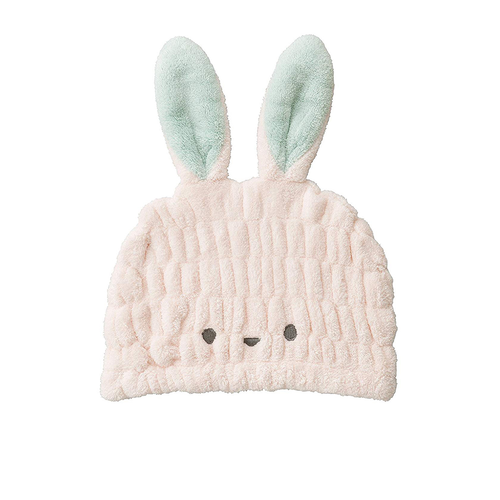CB Japan|兒童動物造型超細纖維浴帽-小白兔粉