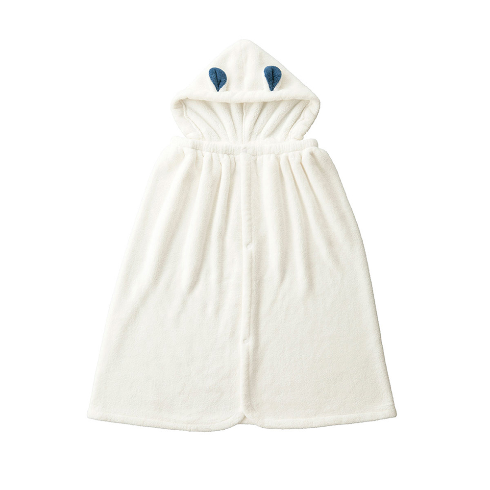 CB Japan|兒童動物造型超細纖維披巾(有帽)-北極熊白