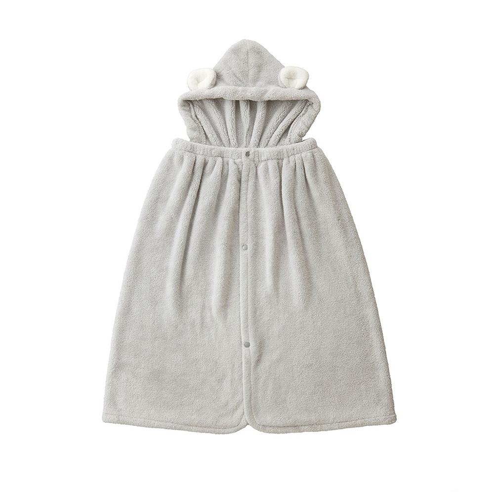 CB Japan 兒童動物造型超細纖維披巾(有帽)-無尾熊灰
