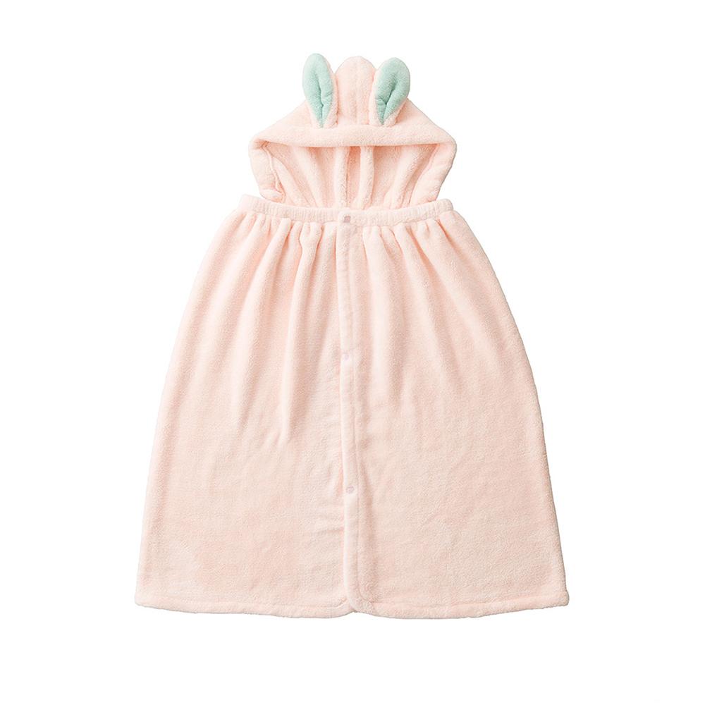 CB Japan|兒童動物造型超細纖維披巾(有帽)-小白兔粉