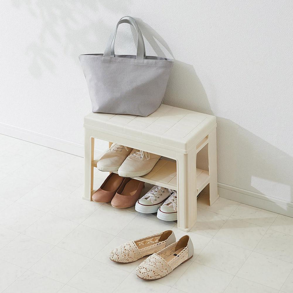 like-it | 【福利品】日式玄關穿鞋收納椅-白