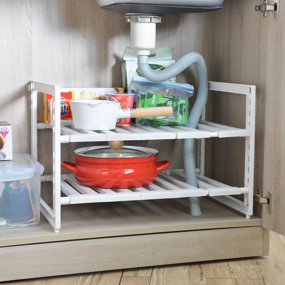 日本珍珠金屬|廚下水槽伸縮式收納層架(深40cm)