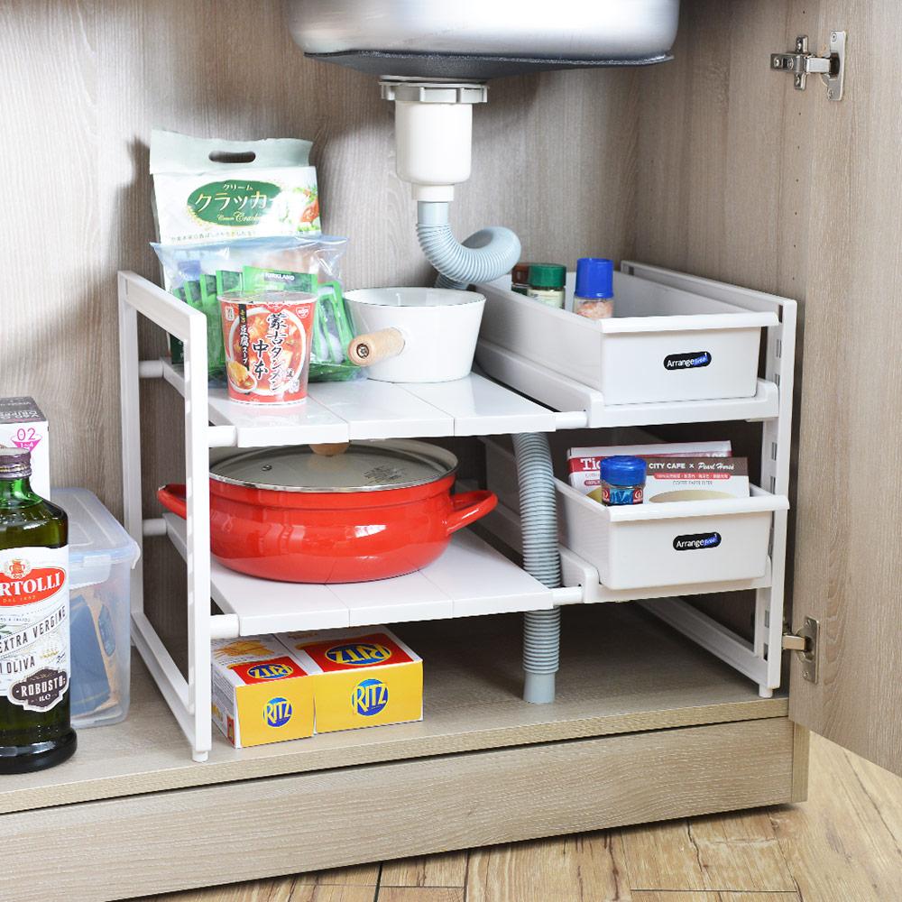 日本珍珠金屬|廚下水槽伸縮式收納層架(深40cm)-附收納盒