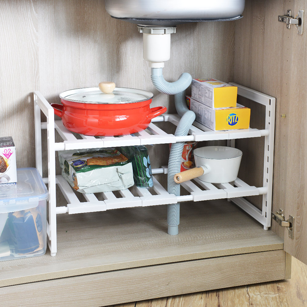日本珍珠金屬|廚下水槽伸縮式收納層架(深30cm)