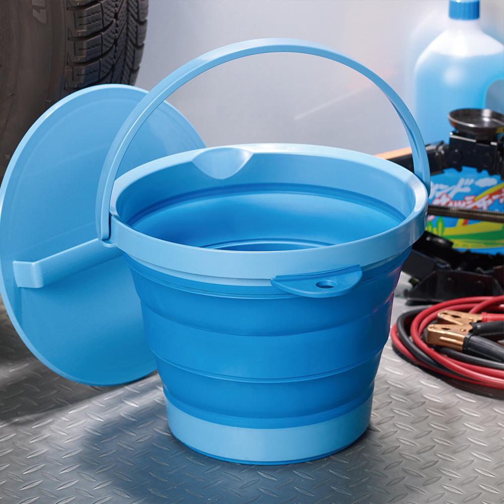 ISETO   伸縮折疊式防滑水桶(附蓋子)-8L