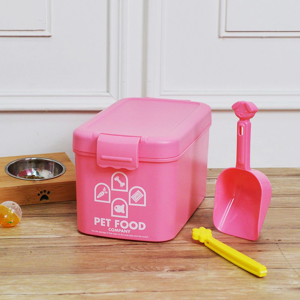 ISETO | 粉彩寵物飼料密封收納桶(附夾勺)-7L