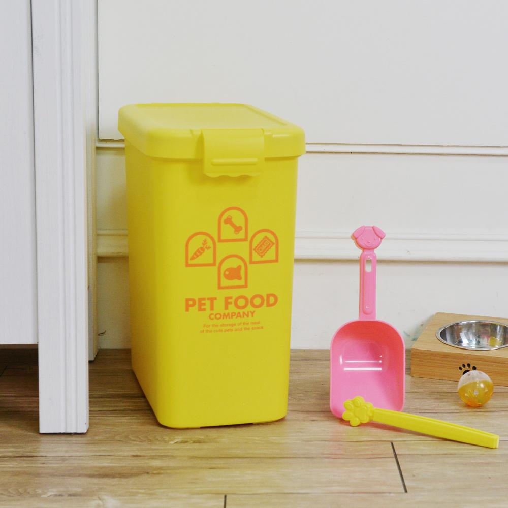 ISETO | 粉彩寵物飼料密封收納桶(附夾勺)-13L