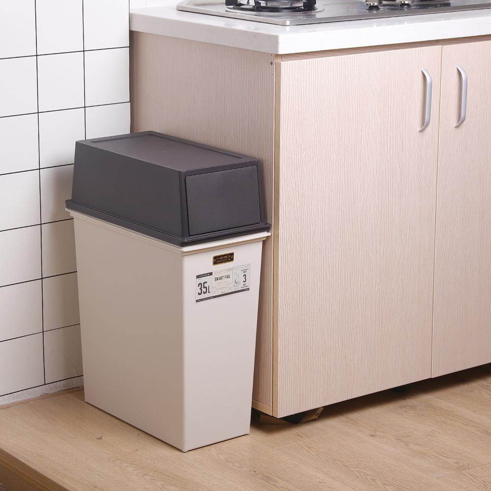 天馬|e-LABO深型推掀式垃圾桶-35L