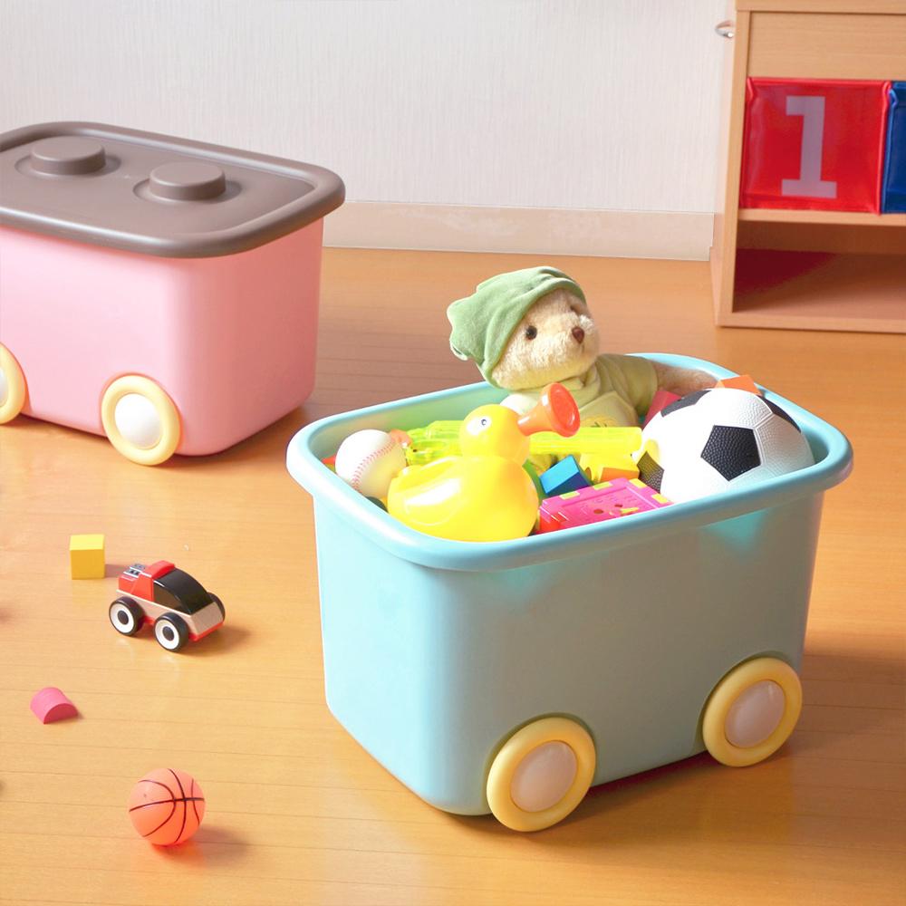 伸和 玩具衣物可疊固定收納箱L(32L)-附輪-2入