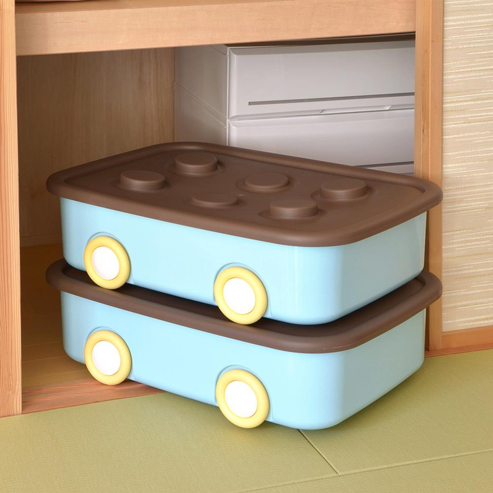 伸和 玩具衣物可疊固定收納箱XL(50L)-附輪-2入