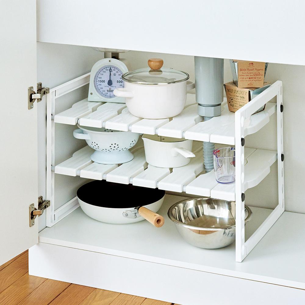 天馬|廚下水槽伸縮式收納層架(加寬型)