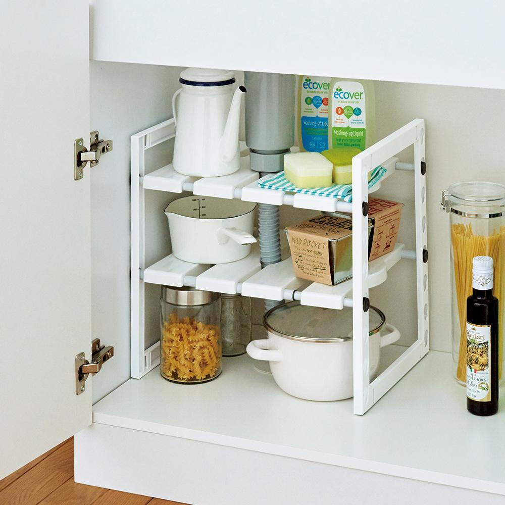 天馬|廚下水槽伸縮式收納層架
