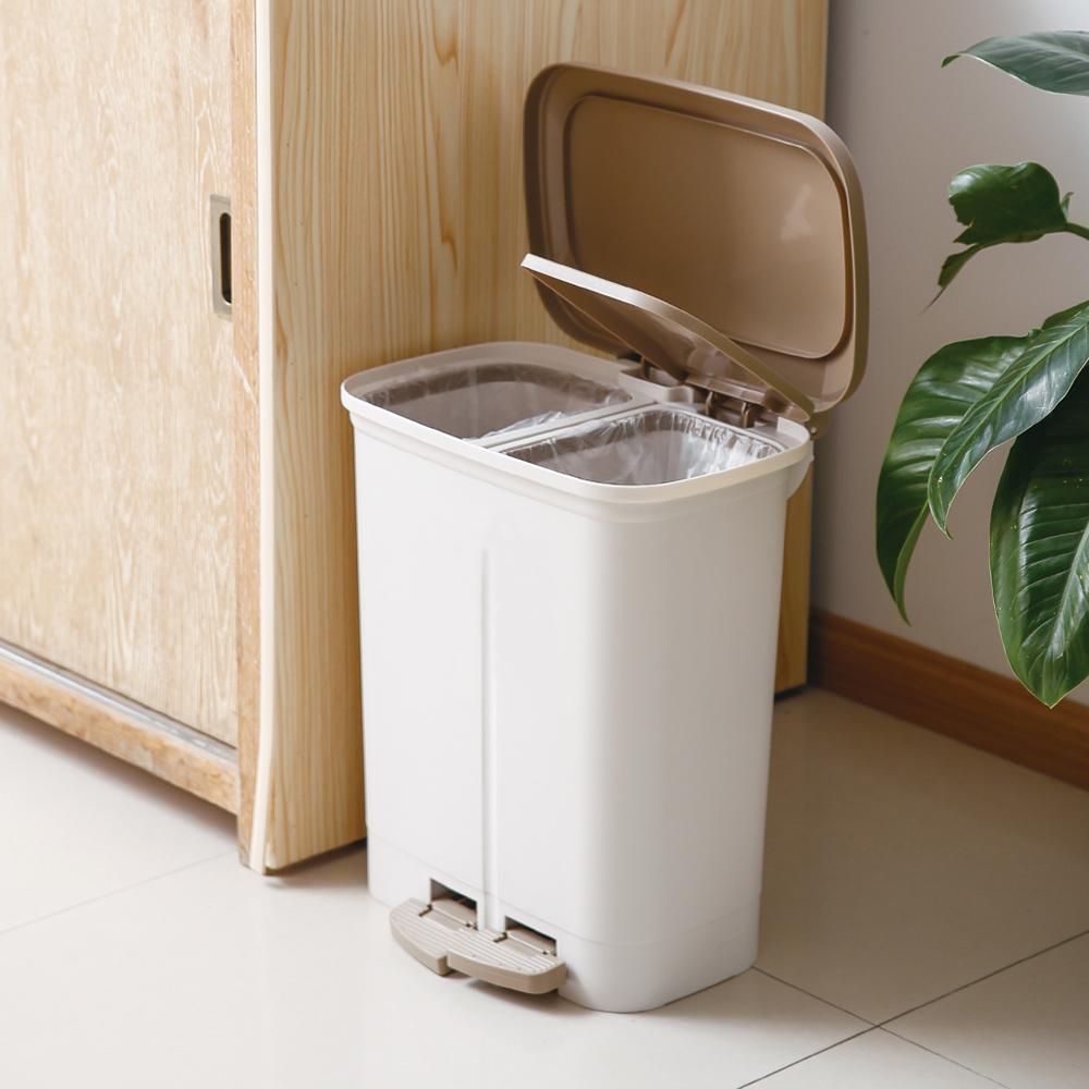 天馬|dustio分類腳踏抗菌雙蓋垃圾桶(寬型)-20L