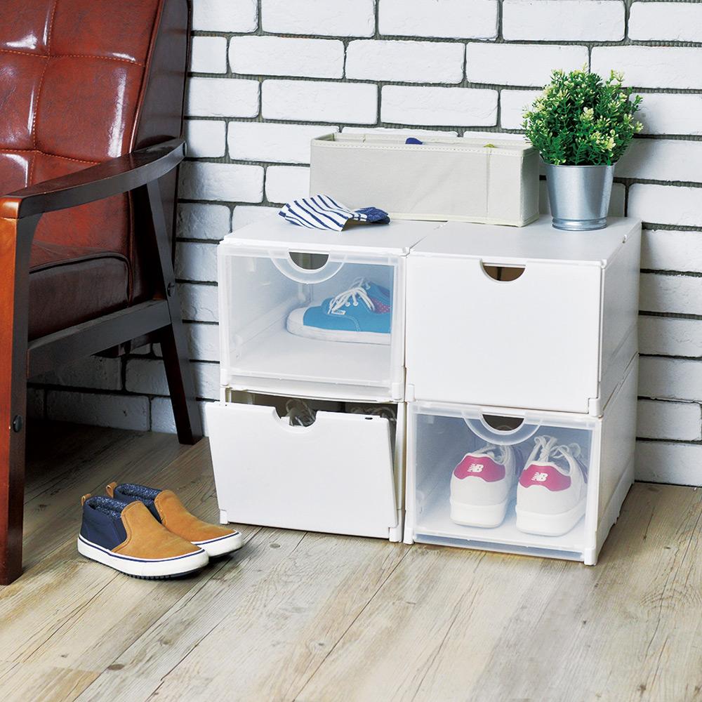 天馬|雙開耐固層疊鞋靴收納盒(白)-4入
