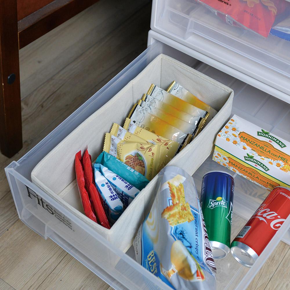 天馬|抽屜用單格分類收納布盒-面寬15cm-2入
