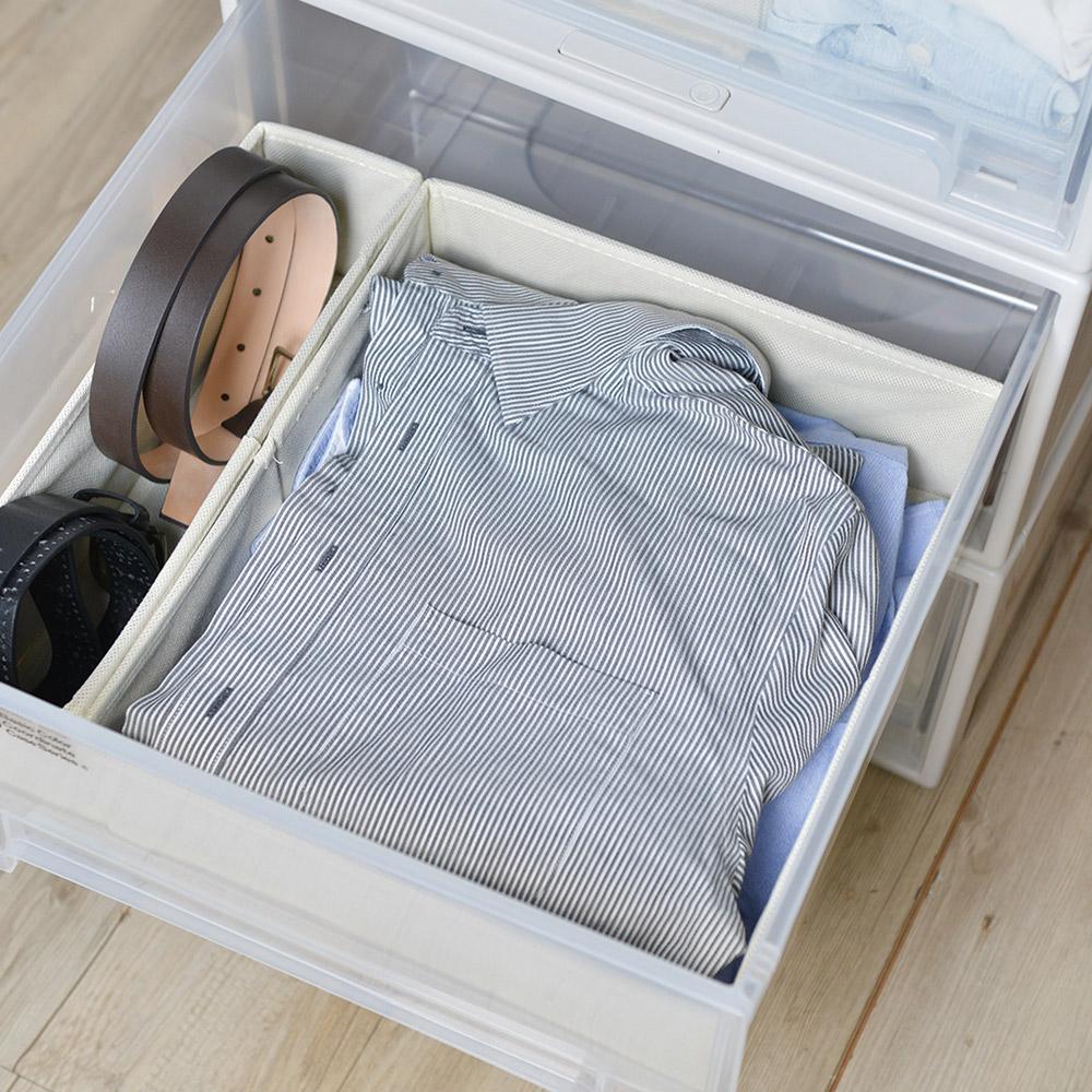 天馬 抽屜用單格分類收納布盒-面寬30cm-2入