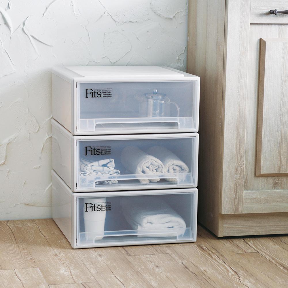天馬|Fits 正方系列45寬單層抽屜收納箱-高20CM-3入