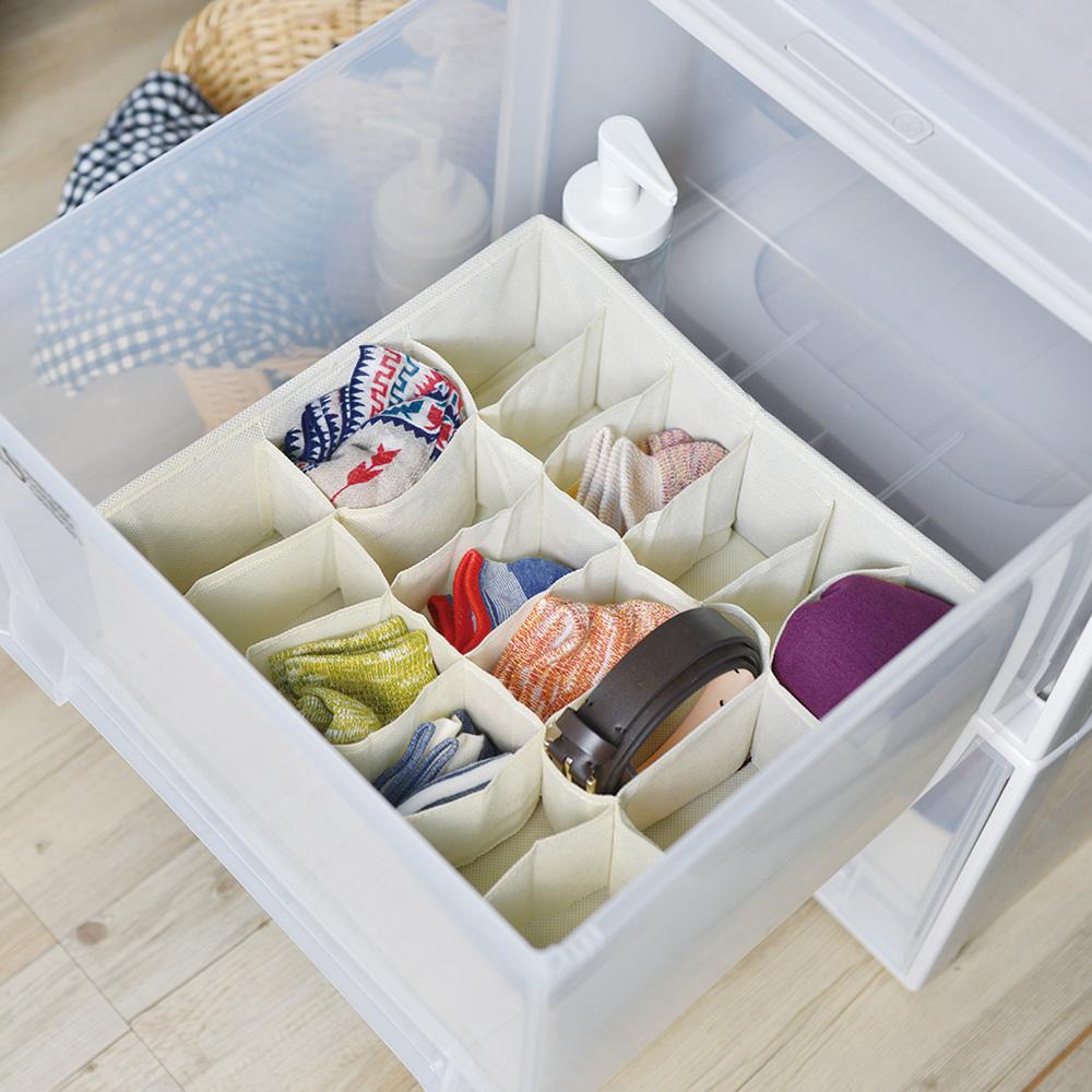 天馬|抽屜用18小格分類收納布盒-面寬30cm-2入