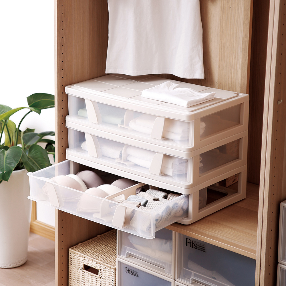 天馬|沙發床下滑輪抽屜整理箱(附隔板)-26L-3入