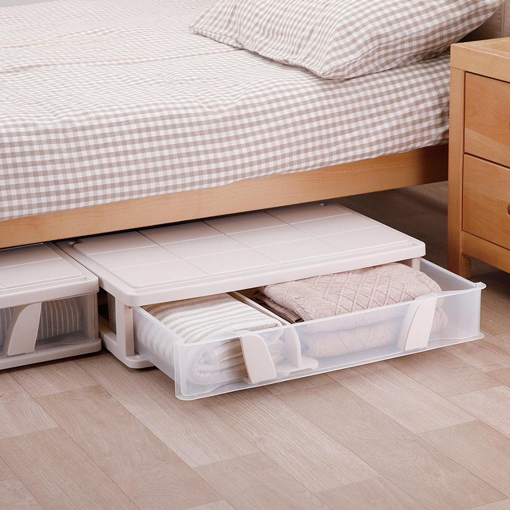 天馬 沙發床下滑輪抽屜整理箱(附隔板)-26L-3入