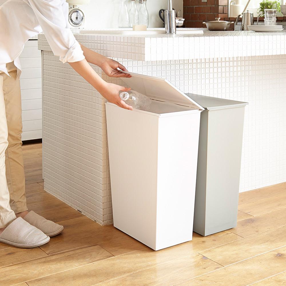 岩谷Iwatani|寬型可分類掀蓋式垃圾桶(附輪)-36L