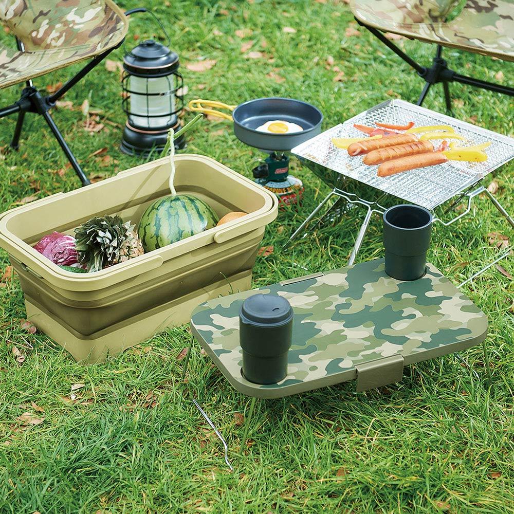 ISETO 日製二合一野餐露營折疊式提籃餐桌(附卡扣)
