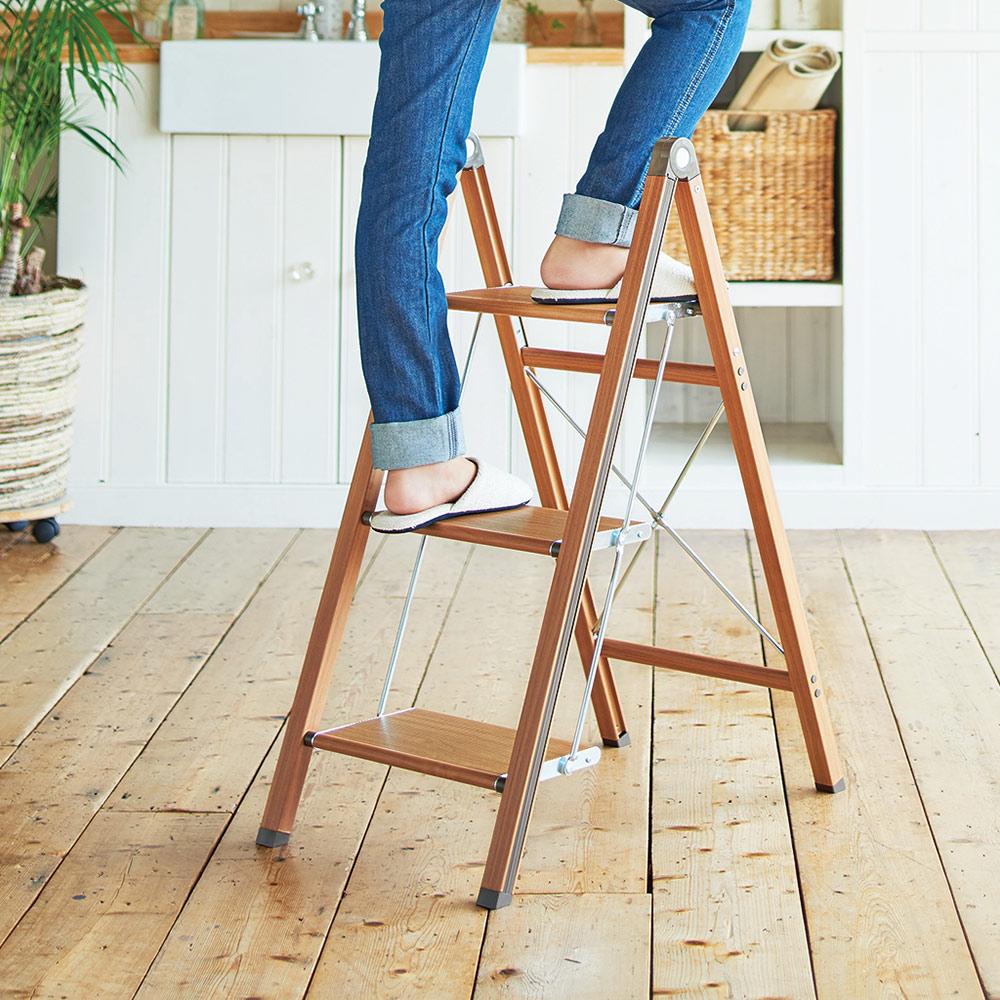 天馬 木紋家用便攜式鋁合金三層折疊梯-棕色