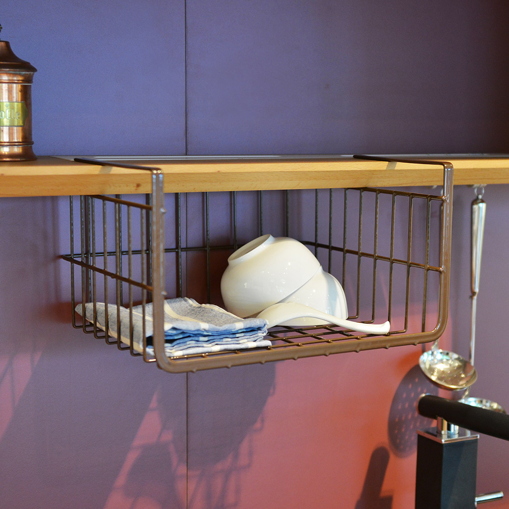 +O家窩|日本製Layer免鑽櫥櫃下金屬吊掛置物籃