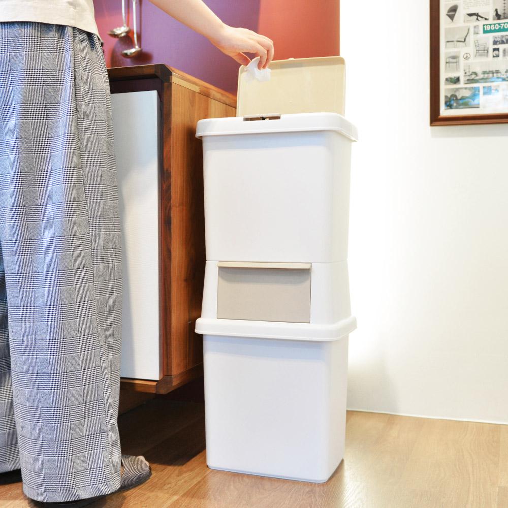 +O家窩|日本製諾亞寬型雙層分類垃圾桶-39L