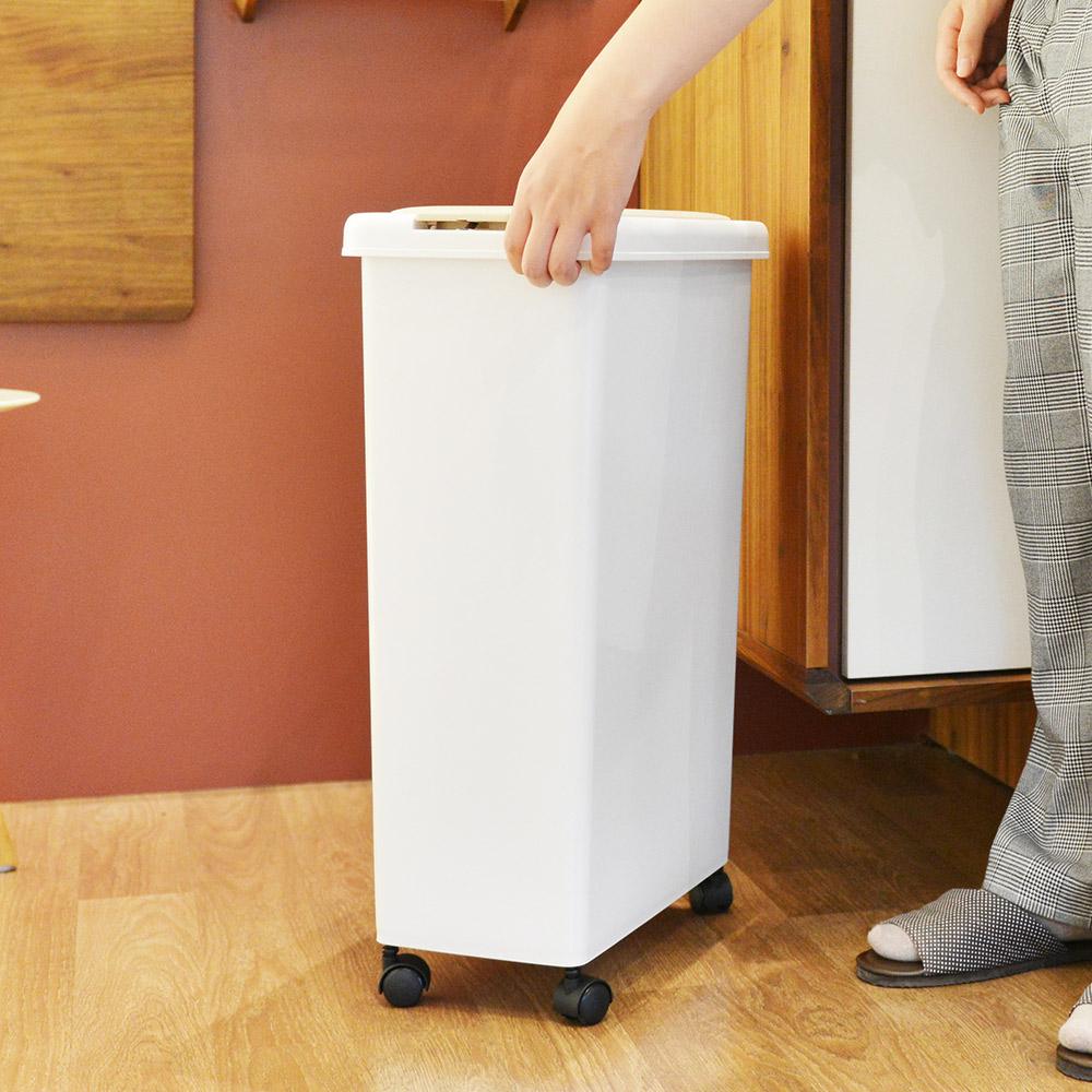 +O家窩|日本製諾亞按壓彈蓋式防臭垃圾桶(附輪)-30L