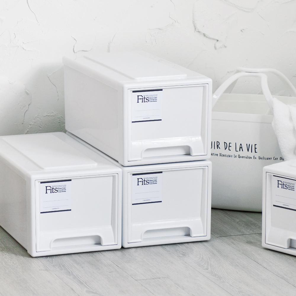 天馬|Fits MONO純白系正方22.5寬單層抽屜箱-高20CM-3入