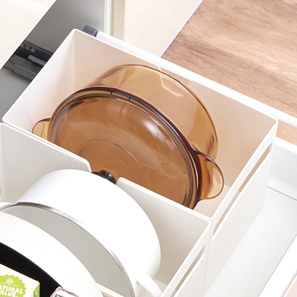 日本天馬|廚房系列平口式櫥櫃抽屜用ABS收納籃-寬18CM-3入