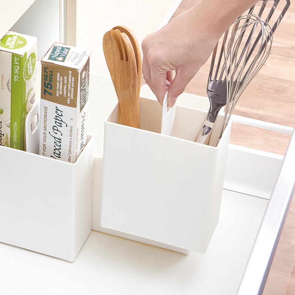 日本天馬|廚房系列雙格可提式櫥櫃抽屜用ABS收納籃-寬7.5CM-3入
