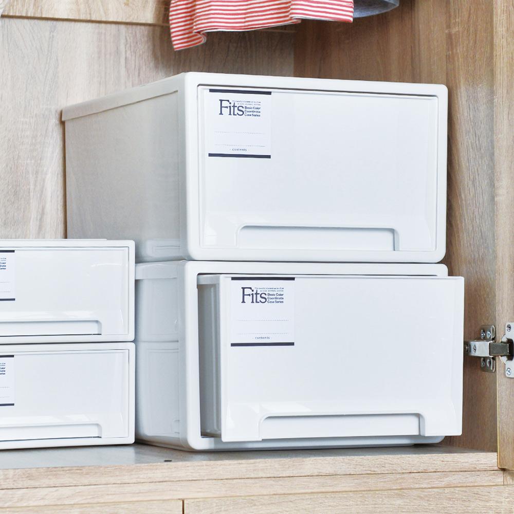 日本天馬|Fits MONO純白系隨選33寬單層抽屜收納箱-3入