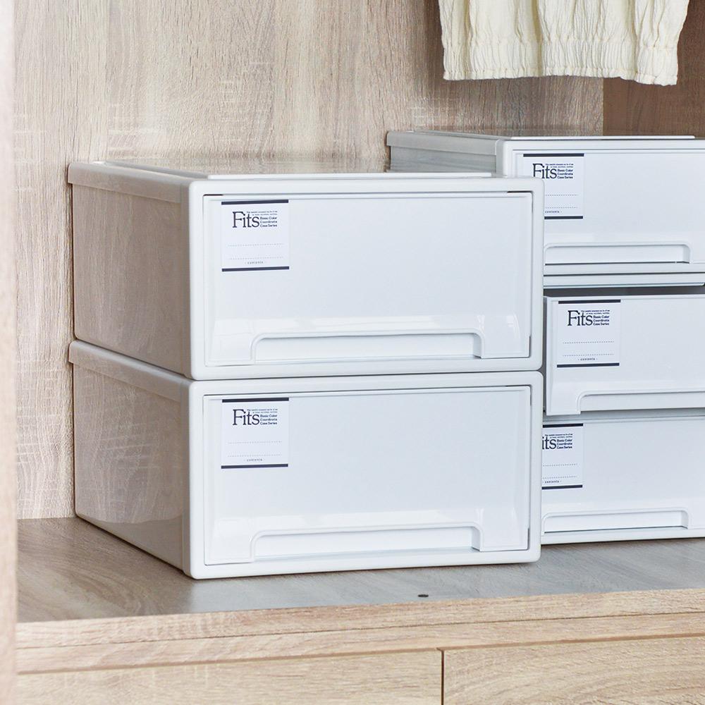 日本天馬|Fits MONO純白系隨選31.6寬單層抽屜收納箱-3入