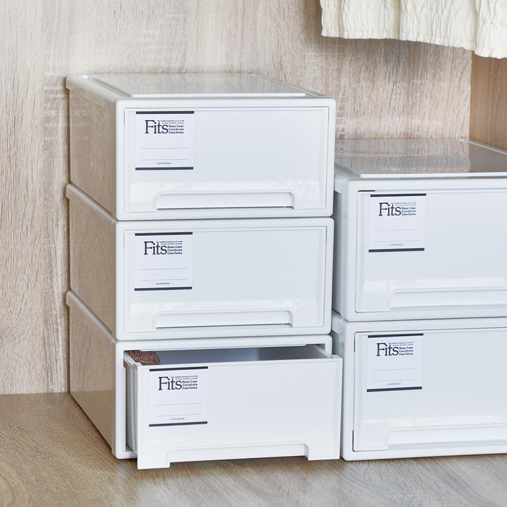 日本天馬|Fits MONO純白系隨選22.4寬單層抽屜收納箱-3入