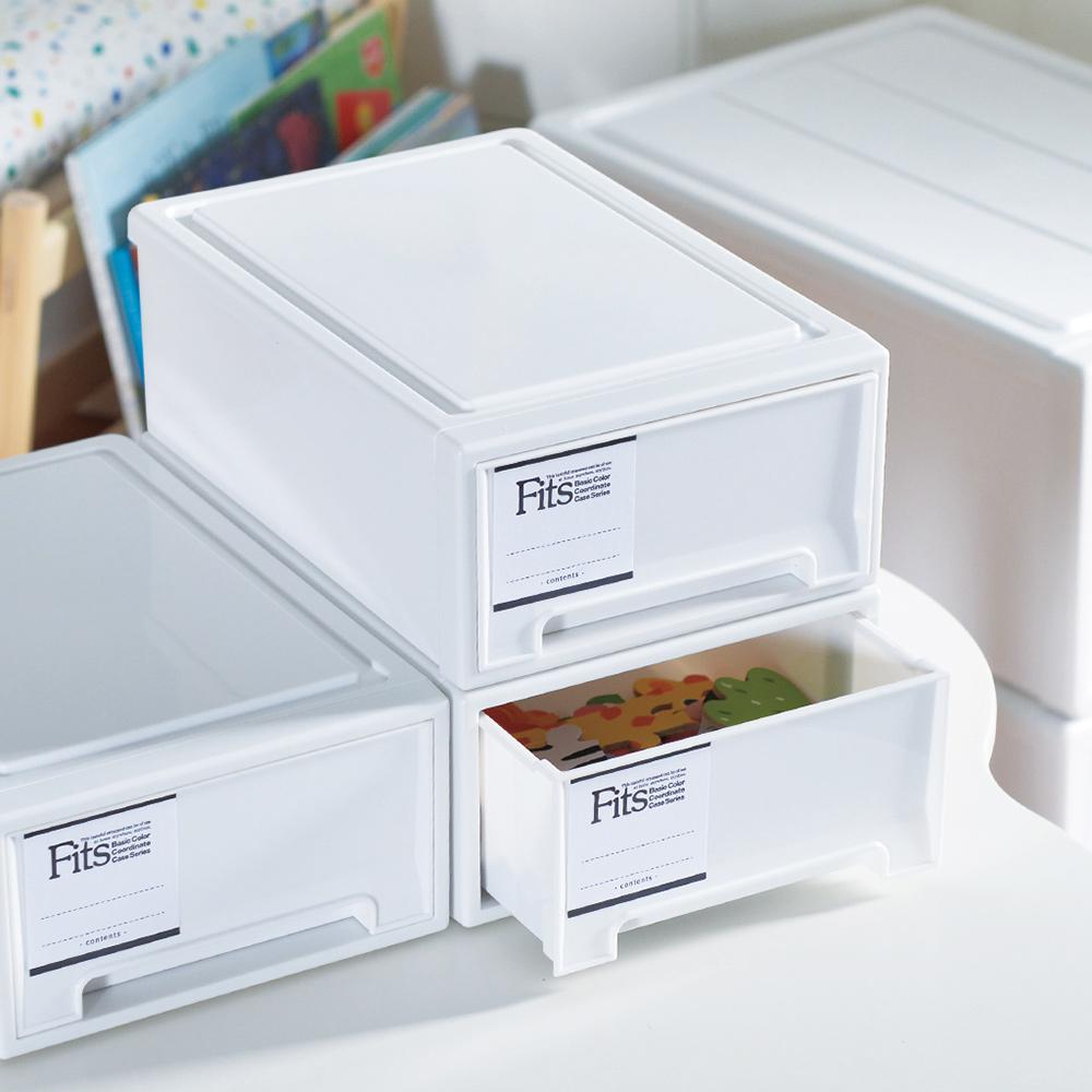 日本天馬|Fits MONO純白系隨選18.4寬單層抽屜收納箱-3入