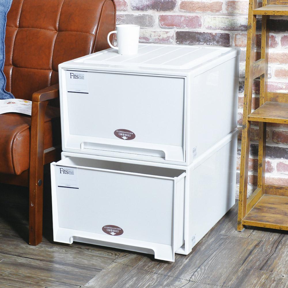 日本天馬 Fits MONO純白系特大45寬單層抽屜收納箱-高30cm-3入