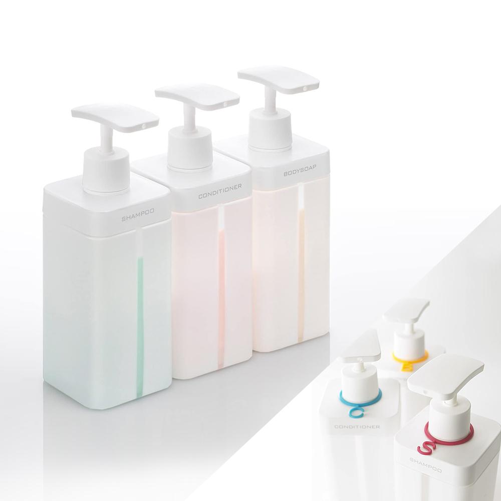 岩谷Iwatani 浴室沐浴/洗髮/潤髮分裝壓瓶800ml-三件組(附三色字母辨識環)