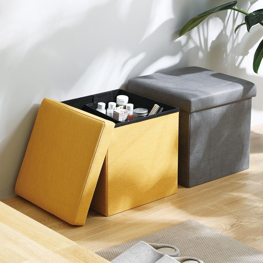 霜山|家用布藝方形折疊收納椅/穿鞋凳-2色可選