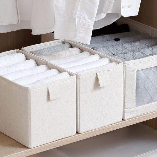 霜山 棉麻布摺疊式分類收納盒-S