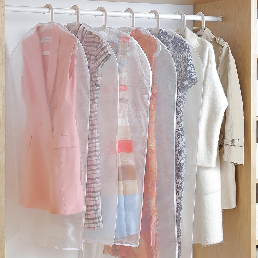 霜山|珍珠軟紗透明衣物/西裝防霉防塵套-短版-3入